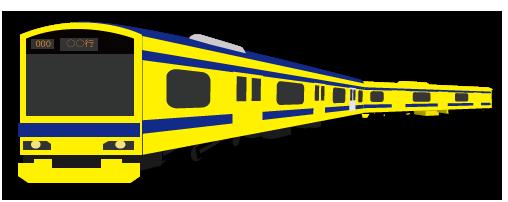 大きいサイズの黄色の塗装の電車