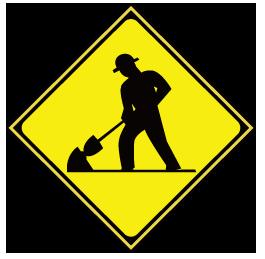 大きいサイズの道路工事中の警戒標識