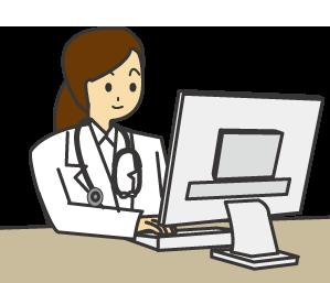 大きいサイズのパソコンで仕事をする女性の意思