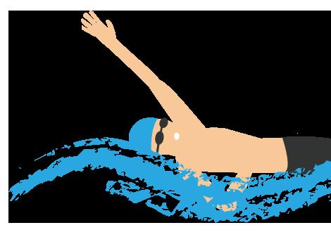 大きいサイズの背泳ぎ