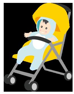 大きいサイズの黄色のベビーカーと赤ちゃん