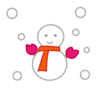 大きいサイズの手袋とマフラーをつけた雪だるま