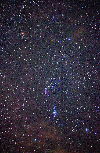 大きいサイズのオリオン座と流れ星