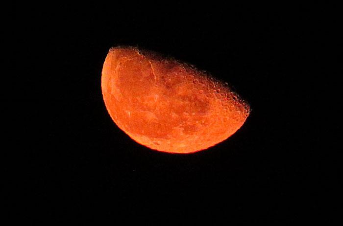 大きいサイズの地平線付近の赤い月