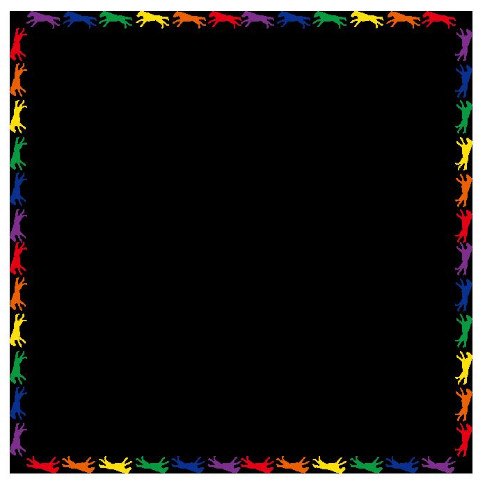 大きいサイズのカラフルな正方形の馬のフレーム