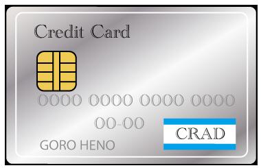大きいサイズのシルバーのクレジットカード