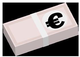 大きいサイズのユーロの札束