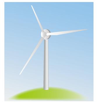 大きいサイズの水色の空と山頂の風車