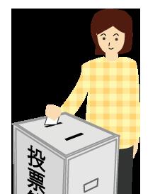 投票する女性