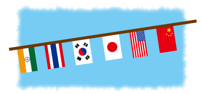 運動会の旗と青空