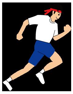 大きいサイズの運動会で走る赤いハチマキの人