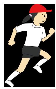 大きいサイズの運動会で走る女の子供