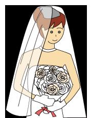 ブーケを持ったウエディングドレスの女性