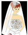 大きいサイズのウエディングドレスを着た女性