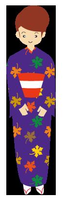 紫系・紅葉の着物