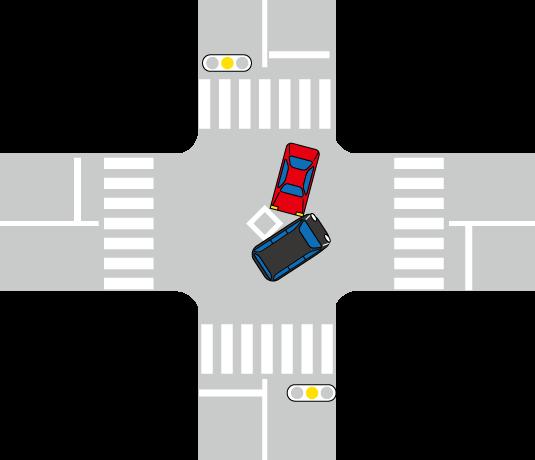 右折時に事故を起こしたワゴン車