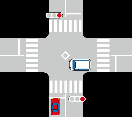 交差点と信号機とワゴン