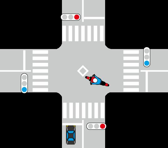 信号交差点で右折するバイク
