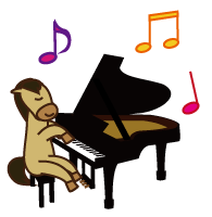 ピアノを弾く馬キャラ