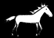 絵の具の筆で描いたような馬