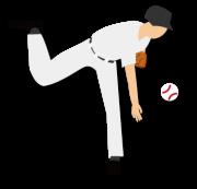 青年ピッチャーがボールを投げた瞬間