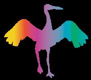 虹色の鶴・鳥・シルエット・つる・ツル