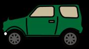 真横から見た緑の四輪駆動車