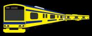 黄色の塗装の電車