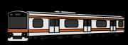橙色のラインの電車