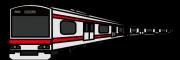 赤色ラインとシルバーの電車
