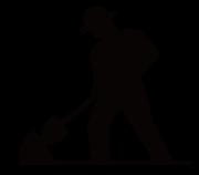 穴を掘る人物シルエット