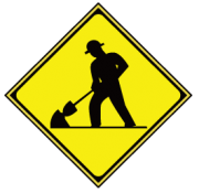 道路工事中の警戒標識