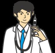 注射器をもった男性医師