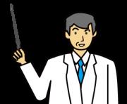 説明する年配のドクター