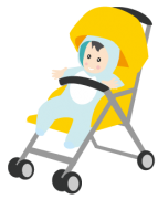黄色のベビーカーと赤ちゃん