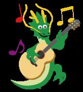 ギターを弾くドラゴン