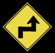右背向き屈折あり標識