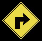 右方屈折あり標識