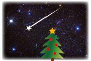 冬の流れ星とクリスマスツリー