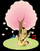 お花見とギターを弾く馬