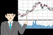 株の値動きの解説をする男性