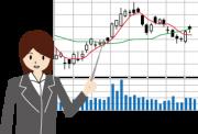 株価チャートについて解説する女性
