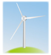 水色の空と山頂の風車