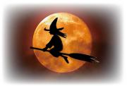 ホウキ乗った魔女と満月と夜空