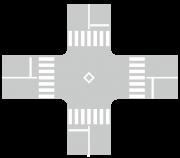 交差点(2車線・横断歩道)