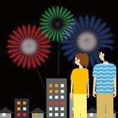 打ち上げ花火を鑑賞する男性と女性