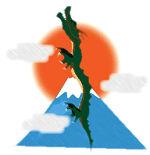 昇り龍と日の出と富士山
