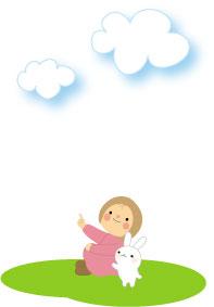 雲と女の子とウサギ